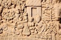 Close_up of north gateway of stupa 1 Inner view , Sanchi near Bhopal , Madhya Pradesh , India