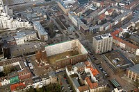 Aerial view, gutting of the Hans-Sachs-Haus, rebuilding of the town hall, Gelsenkirchen, Ruhrgebiet region, North Rhine-Westphalia, Germany, Europe