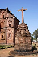 Rear View Of Basilica Of Bom Jesus church built in 1585 A.D. With Laterite Stone , UNESCO World Heritage Site , Old Goa , Velha Goa , India