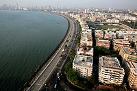 Aerial view of Marine Drive Queens Necklace , Bombay Mumbai , Maharashtra , India