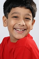 Close ups of South Asian Indian boy in laughing expression , India MR152