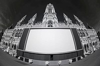 City hall and screen, Vienna, Austria, Europe