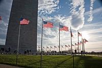 Flags flying around the Washington Monument