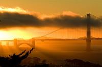 Golden Gate Bridge at sunset as seen from Russian Hill