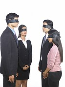South Asian Indian executive men and women covered eyes with black ribbon MR