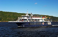 Cruise ship of the Croisières AML company, watching whales on the St. Lawrence River, Tadoussac, Canada