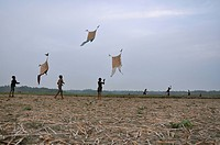 Children fly kites It is a very popular games in rural Bangladesh Khulna, Bangladesh April 2010