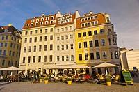 Sidewalk cafes, Neumarkt, Dresden, Saxony, Germany
