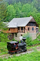 steam locomotive and old saw mill, Museum of Kysuce village, Vychylovka, Slovakia