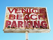 Venice Beach Parking Sign, Venice Beach, California, USA