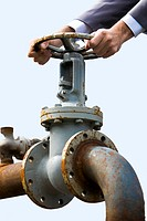 Close_up of metal steer held by male hands and pipe