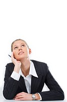 Portrait of pensive woman looking upwards on a white background