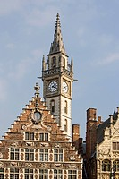 Old guild houses with clock tower at the Lys or Leie river, Graslei, Ghent, Flanders, Belgium, Europe