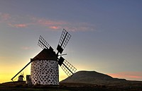 Two windmills, Villa, Fuerteventura, Canary Islands, Spain, Europe