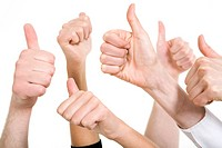 Line of group of human fists keeping thumbs up