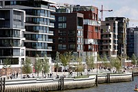 Hafencity district, new, modern district on the Elbe river, in the old docks area, Hamburg, Germany, Europe