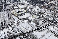Aerial view, Westfalenhalle venue, Goldsaal venue, SignalIduna Stadion stadium, Stadion Rote Erde stadium, B54 highway, snow, Dortmund, Ruhrgebiet reg...