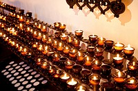 Votive candles in the Wallfahrtskirche Mary Eck sanctuary, burning candles, Chiemgau, Bavaria, Germany, Europe