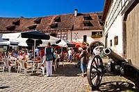 Wasserschloss Glatt moated castle, cafe in the courtyard, Glatt, Black Forest, Baden-Wuerttemberg, Germany, Europe