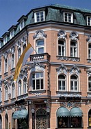 Germany, Bottrop, Ruhr area, Westphalia, North Rhine-Westphalia, NRW, old pharmacy, founding period, stucco facade, flag, Route of Industrial Heritage