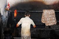 Dyeing in a batik factory, near Yogyakarta, Central Java, Indonesia, Southeast Asia