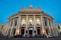 Burgtheater theatre at dusk, Ringstrasse street, Vienna, Austria, Europe