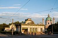 Art Nouveau city railway station Karlsplatz, 1899, by Otto Wagner, Karlskirche church, Vienna, Austria, Europe