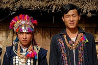 Portrait, woman and man of the Akha Loma ethnic group, colorful traditional clothing, traditional costume, Ban Noy, Phongsali province, Laos, Southeas...