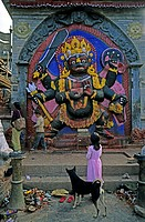 Stonework, ferocious image of the six-armed deity Bhairava standing atop the demon Vetala; in his right hand he is holding a Kapala or skullcup and wi...
