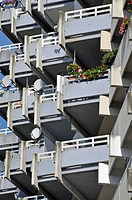 High-rise apartment building with balconies and satellite dishes, satellite town of Chorweiler in Cologne, North Rhine-Westphalia, Germany, Europe