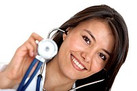 Female doctor holding a stethoscope isolated over a white background.