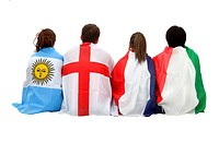 Football fans with flags on their backs _ isolated over a white background