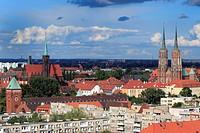 Poland, Polish, Eastern Europe, Central Europe, Europe, European, Architecture, building, Church, house, Wroclaw, Lower Silesia, Breslau, Spire, City,...