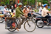 Vietnam, Hanoi old town, different means of transport.