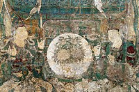 Detail: Buddha of Medicine Bhaishajyaguru Yaoshi fo, ca  1319, Yuan dynasty 1271-1368, Water-based pigments over foundation of clay mixed with straw H...