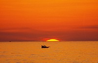 sunrise mountain/Fishing people, Glowed sea