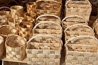 handmade wooden baskets at market place