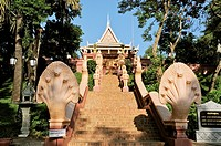 Cambodia, Phnom Penh, Wat Phnom which was behind the founding of Phnom Penh  This complex is indicative of Buddhist tolerance: there are also many ver...