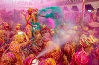 India, Uttar Pradesh, Holi festival, color and spring festival, celebrate the love between Krishna and Radha