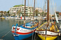 Traditional colorful fishing boats in the Marina of Riccione, Emilia-Romagna, Italy