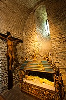 The lower chapel of the Basilican Church of the Holy Blood  XII Century  Burg Square  Bruges, Brugge, Flanders,Belgium, UNESCO World Heritage Site.