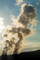 Smoke emitting from cooling towers of Tricastin Nuclear Power Plant, Drome, France