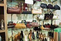 Purses and sandals display in a store, Ansal Plaza, New Delhi, India