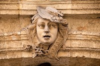 one of the many typical stone sculpture heads ornement above Mansion Doors Old Aix Aix en Provence 13 France