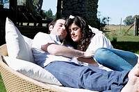 Couple lying on a couch