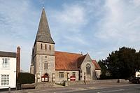 St Peters Church Stockbridge with shingle spire UK