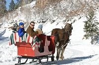 Three people riding sleigh.