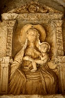 15th century Gothic bas relief of Virgin Mary center, Saint Tripun right, Saint Bernard left  Main gates, Kotor, Montenegro