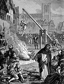 Torture of Huguenots in France after the revocation of the Edict of Nantes, 1685.