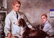 Frederick Banting and Charles Best, with a diabetic dog they kept alive through injections of the hormone insulin. The two were the first to isolate i...